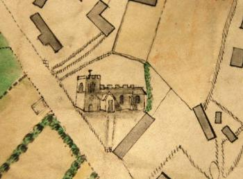 Aspley Guise Church on Inclosure Map