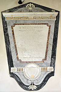 The memorial of William Wright in the north aisle May 2017