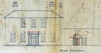 Elevation of Woburn Sands Vicarage showing planned alterations
