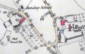 1882 map showing Sunday School