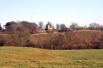 Battlesden church and Old Rectory shot from A5 January 2008