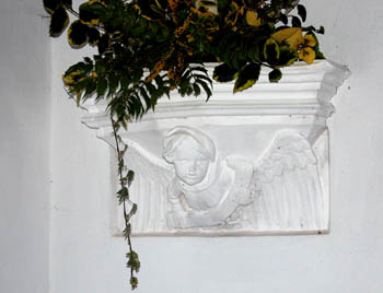 Detail of capital on chancel east wall January 2008