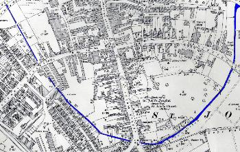 The Kings Ditch shown in blue on this 1926 map