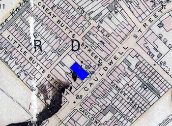The Baptist Chapel shown in blue on this map of 1901