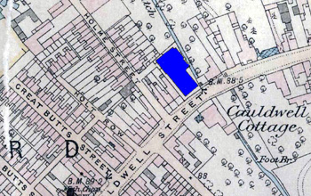 The Wesleyan Methodist Chapel is shown in blue on this map of 1901