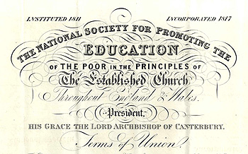 National Society union certificate for the school [P74/29/1]