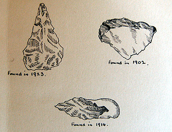 Palaeolithic tools drawn in the Biddenham Women's Institute scrapbook of 1956 [X535/6]