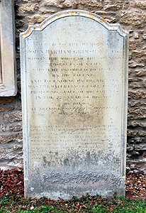 The tombstone of John Barham Grimshawe April 2012