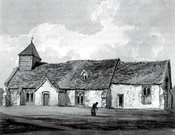 Billington church about 1810 from a painting by George Shepherd