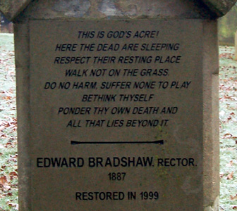 An inscription in the churchyard