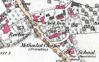 The Cock Inn shown on a map of 1880
