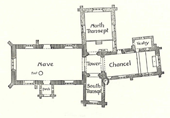 A Plan of Bletsoe church in The Victoria County History