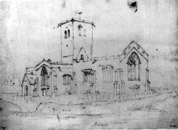 Bletsoe church seen from the south-east around 1820 [Z49/1069]