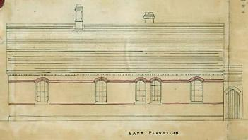 East elevation of the school in 1873 AD3865-8