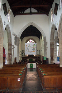 The church interior looking east showing the chancel arch - August 2009