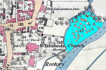 The island site is shaded in pale blue on this map of 1884