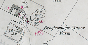 Brogborough Manor Farm annotated for the 1925 Rating and Valuation Act survey [DV2-C21]