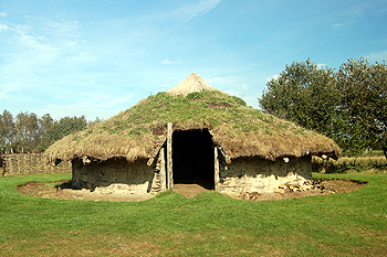 A reconstruction of a Bronze Age round house at Flag Fen October 2011