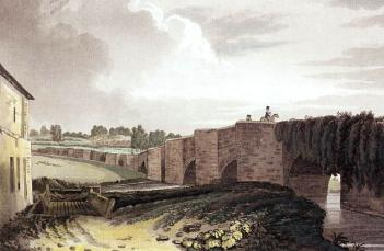 Thomas Fisher's painting of Bromham Bridge in 1812, just before reconstruction and widening