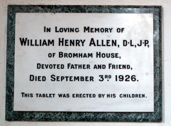 Memorial to W. H. Allen in Bromham Church May 2012