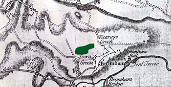 Molivers Wood shown in green on Jeffrey's map of 1765