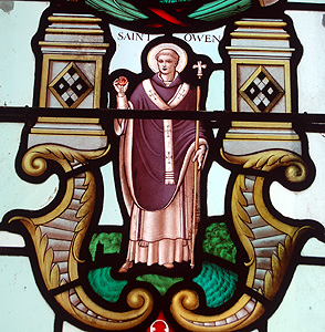 Saint Owen from the chancel south east window May 2012