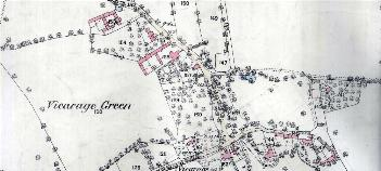The area around Vicarage Green in 1883
