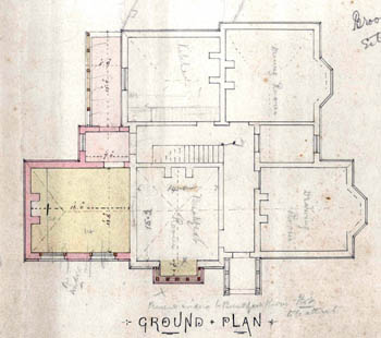ground floor plan of Broom Farm showing extension