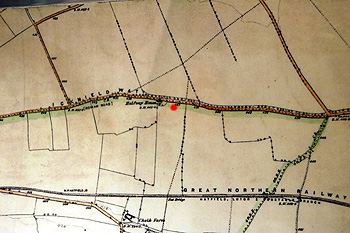 An Ordnance Survey map of 1880 - the red dot marks the approximate position of The Balloon