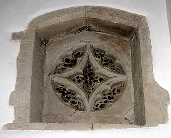 Blind oculus at the east end of the north aisle June 2012