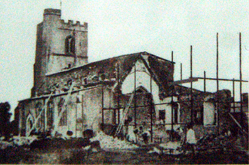 Caddington church under restoration in 1875