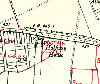 Halfway House shown on a map of 1901