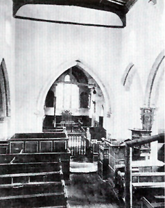 Caddington church looking towards the chancel in 1876