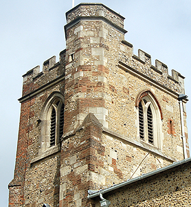 The west tower showing different materials used in repairs June 2012
