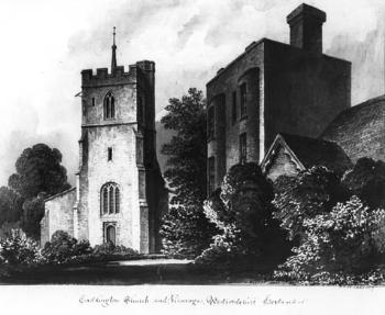 Caddington church and Vicarage in the late 19th century [Z49/793]