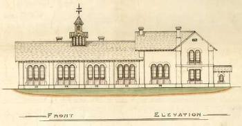 Elevation of Caddington Church of England School about 1859 [AD3865/9]