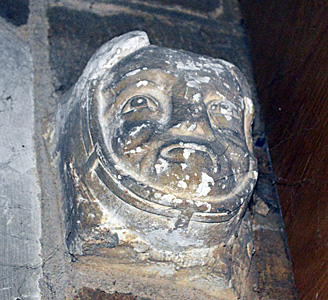 Corbel set into the west tower north wall April 2015