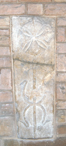 Fifth old tombstone set into the wall of the Lady Chapel May 2010
