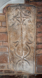 First old tombstone set into the wall of the Lady Chapel May 2010