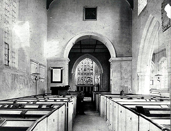 The interior of cardington church looking east before restoration [Z50/24/48]