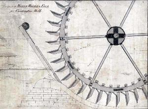 Drawing showing Cardington Mill wheel in 1779