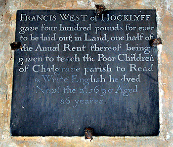 Francis West charity plaque in the south aisle of the church June 2012