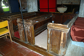 Old benches at the west end of the nave June 2012