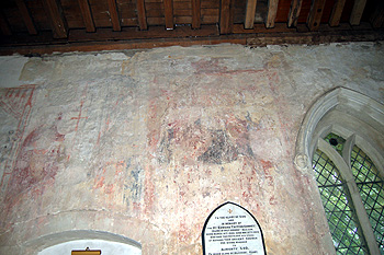 Remains of the Saint Christopher wall painting in the north aisle June 2012