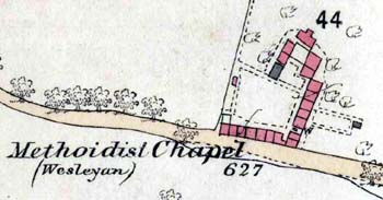 The Methodist Chapel and cottages in 1880