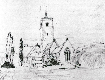The church from the east by Bradford Rudge in 1840, the manor house can be seen behind the west tower [Z50/29/10]