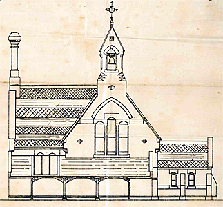 Western elevation of the school in 1900 [X983/7/2]