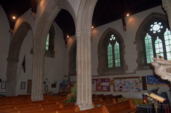 Looking north-west from the nave to the north aisle November 2009