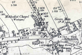 The Wesleyan Methodist chapel shown on an Ordnance Survey map of 1901