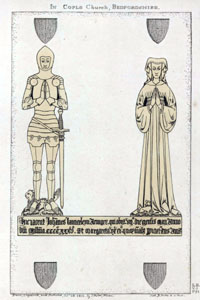 Brasses of Sir John Launcelyn and his wife Margaret of 1435